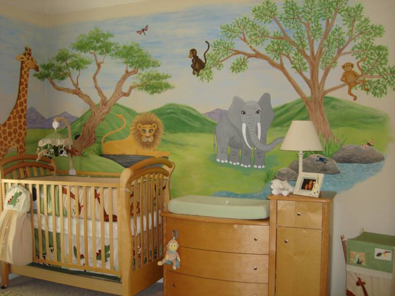 Jungle murals jungle nursery room designs jungle room for Baby nursery mural