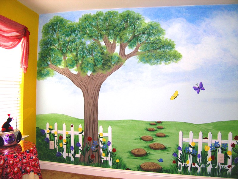 Children 39 s murals for baby nursery custom children 39 s for Children s room mural