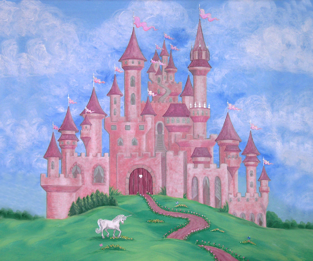 Nursery murals nursery room wall hangings adorable for Disney princess castle mural